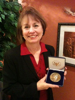 Sharron Angle received the Ronald Reagan Freedom Medallion for Courageous Client from the Claremont Institute in 2004.